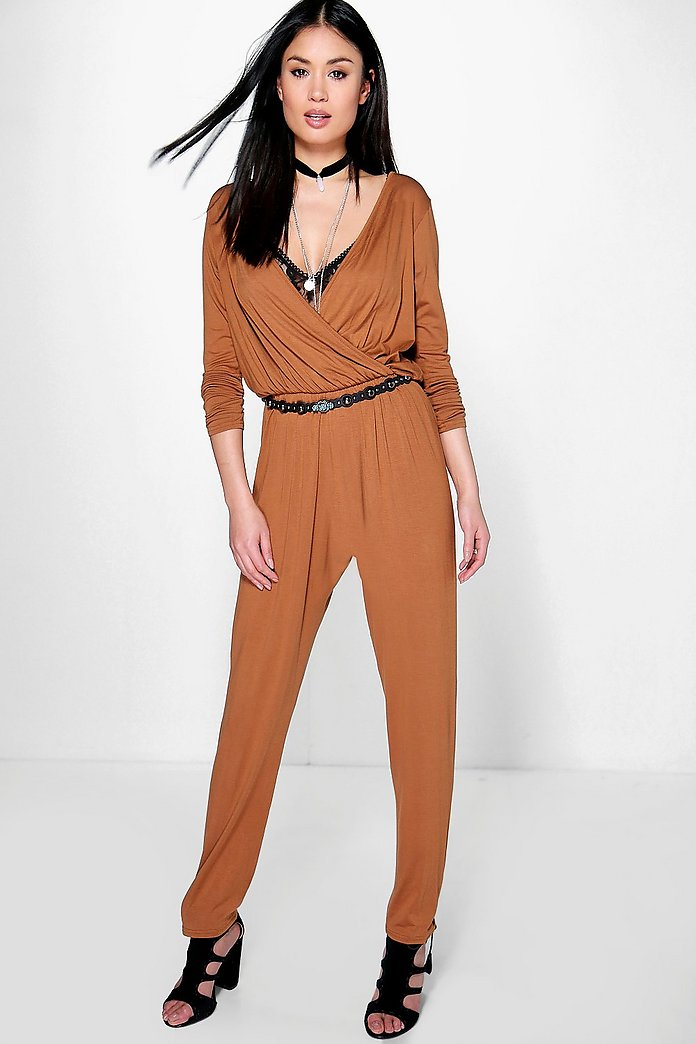 Nia Wrap Front Jersey Jumpsuit