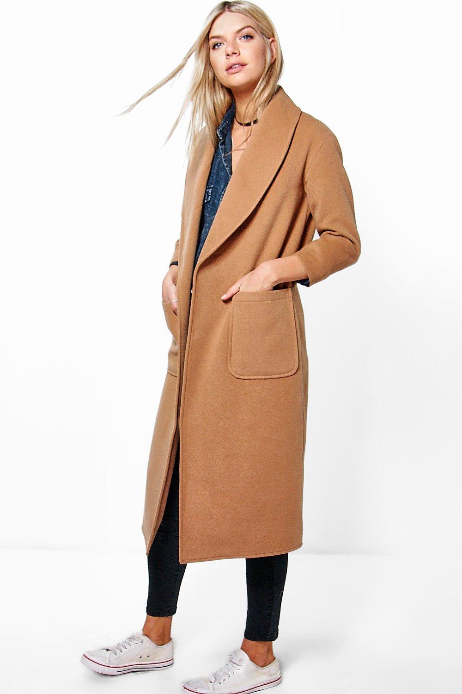1920s Style Coats Emilia Shawl Collar Robe Duster Coat camel $42.00 AT vintagedancer.com