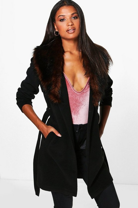 Boutique Eva Belted Robe Coat With Faux Fur Collar