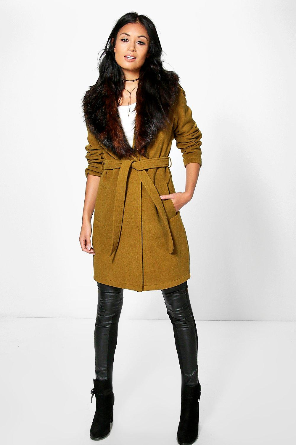 Boutique Mia Belted Robe Coat With Faux Fur Collar