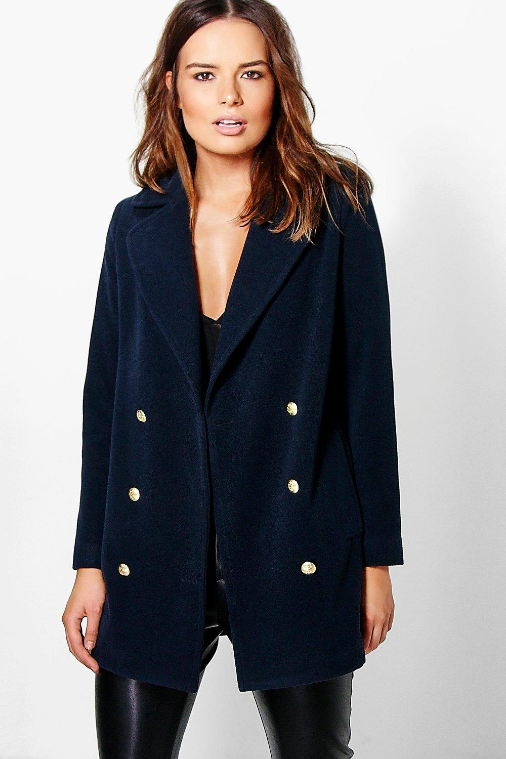 Katie Double Breasted Military Coat | Boohoo