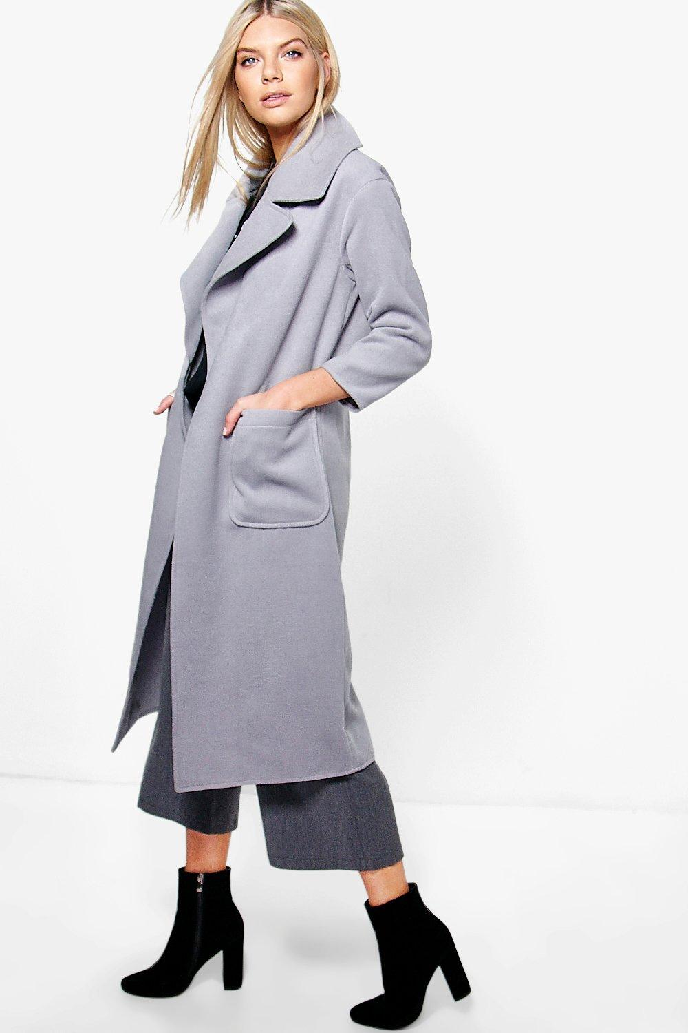 Amelie Oversized Collar Wool Look Robe Coat