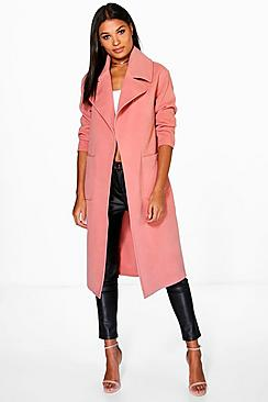 Amber Oversized Collar Wool Look Robe Coat