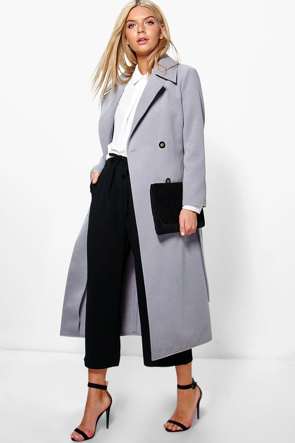 Amy Double Breasted Wool Look Robe Duster