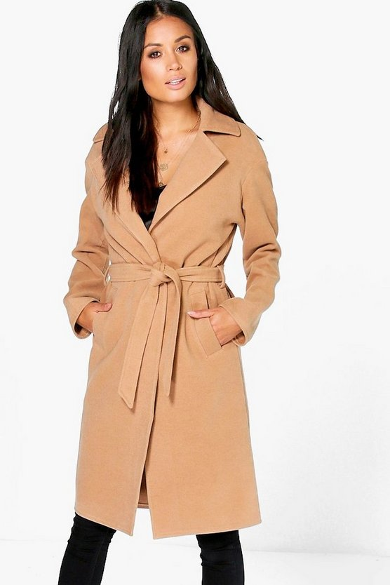 Matilda Belted Wool Look Robe Duster