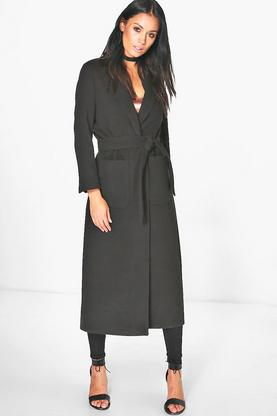 Molly Longline Belted Wool Look Robe Duster