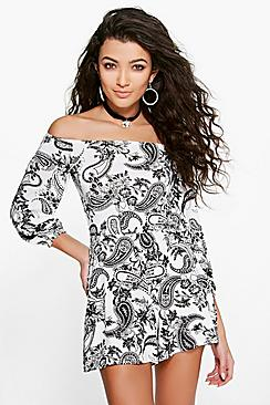 Ria Paisley Off The Shoulder Playsuit