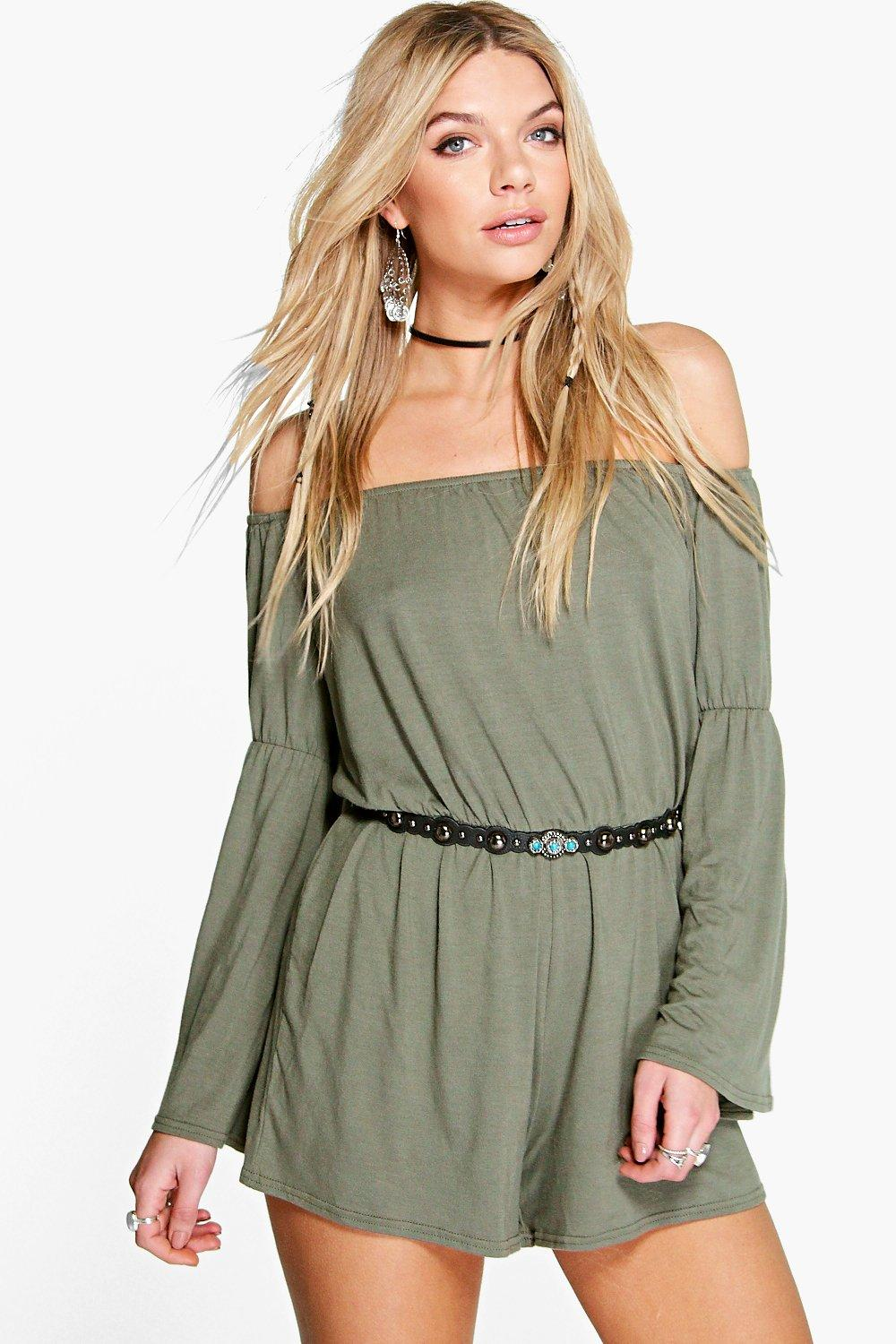 Amy Oversized Smock Style Flute Sleeve Playsuit