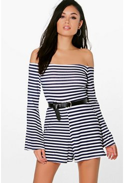 Asha Striped Off The Shoulder Playsuit