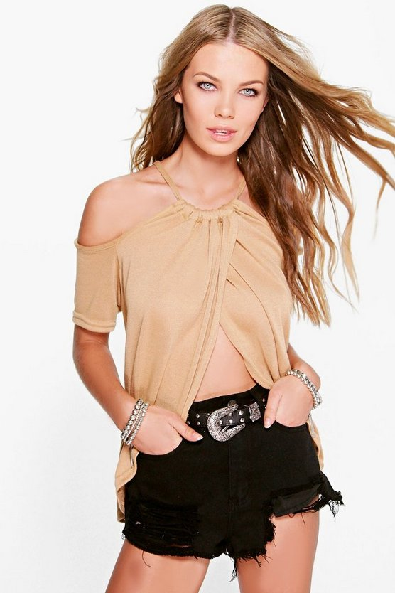Jess Cold Shoulder Drape Front Fine Gauge Top