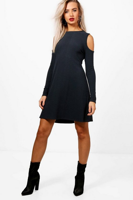 Lily Cold Shoulder Soft Knit Rib Swing Dress