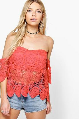 Cora Crochet Scallop Edge Off The Shoulder Top