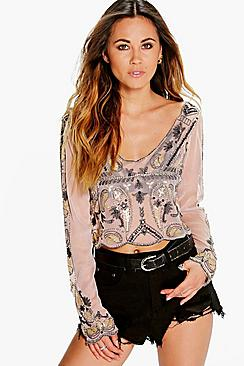 Grace Embellished Barely There Crop Top