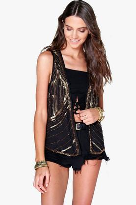 Annie Suedette Sequin Embellished Waistcoat