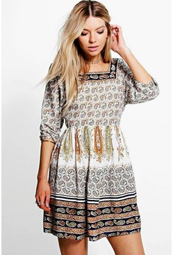 Kerry Printed Open Back Smock Dress