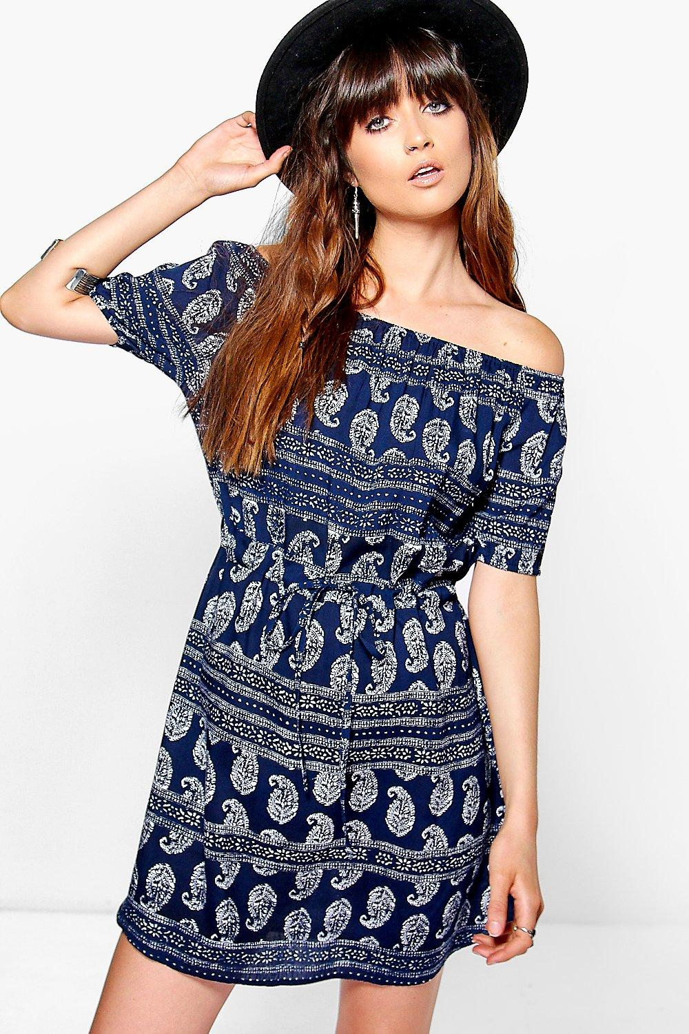 Anne Paisley Off The Shoulder Drawstring Dress