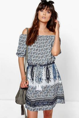 Aria Blue Paisley Off The Shoulder Dress