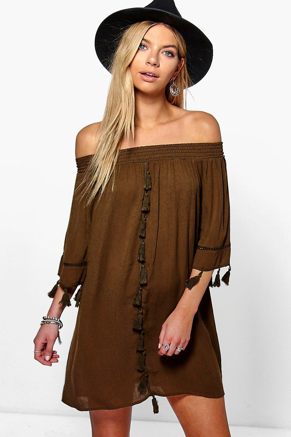 Ali Off The Shoulder Cheesecloth Dress