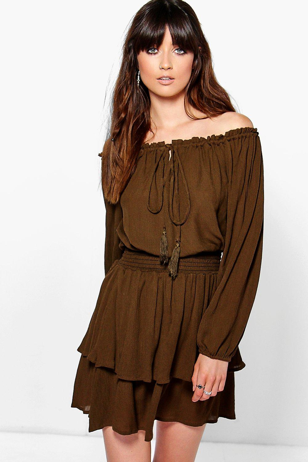 Kim Off The Shoulder Tassel Frill Hem Dress