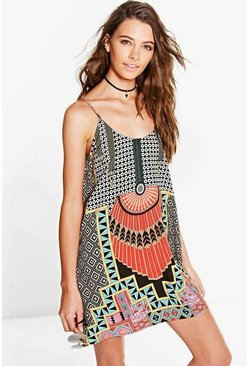 Sahana Placement Geo Slip Dress