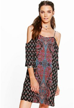 Krisha Paisley Placement Open Shoulder Dress