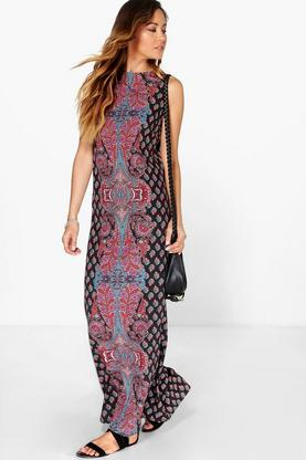 Meera Paisley Placement Column Maxi Dress