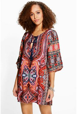 Anushka Paisley Tassel Shirt Dress