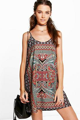 Anaisha Placement Paisley Slip Dress