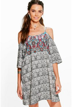 Zoya Sketchy Mono Paisley Open Shoulder Dress