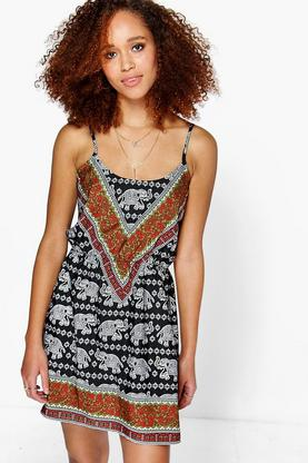 Siya Placement Elephant Print Sun Dress