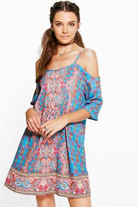 Anvi Multi Paisley Strappy Cold Shoulder Dress