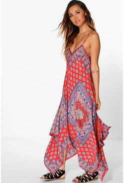 Shreya Printed Hanky Hem Strappy Dress