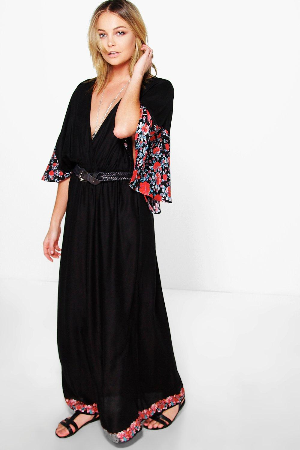 Maryam Floral Cape Detail Maxi Dress