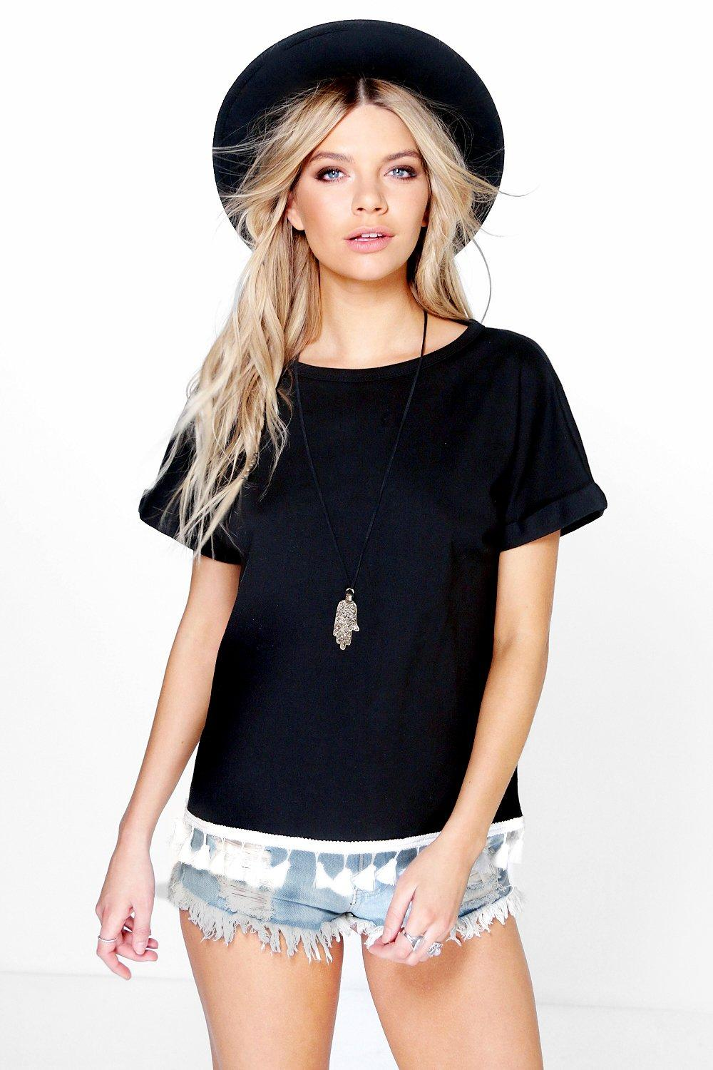 Sonya Fringed Trim Oversized Tee