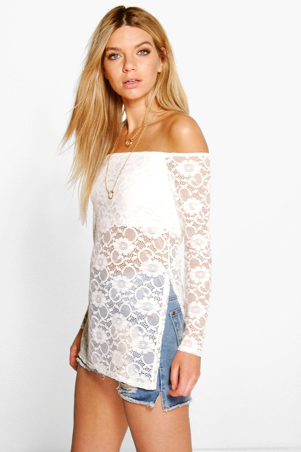 Lexi Longline Lace Off The Shoulder Top