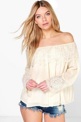 Sophie Crochet Lace Trim Off The Shoulder Top