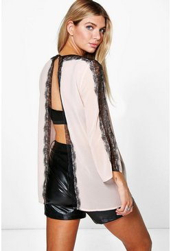 Emma Open Back Eyelash Lace Trim Top