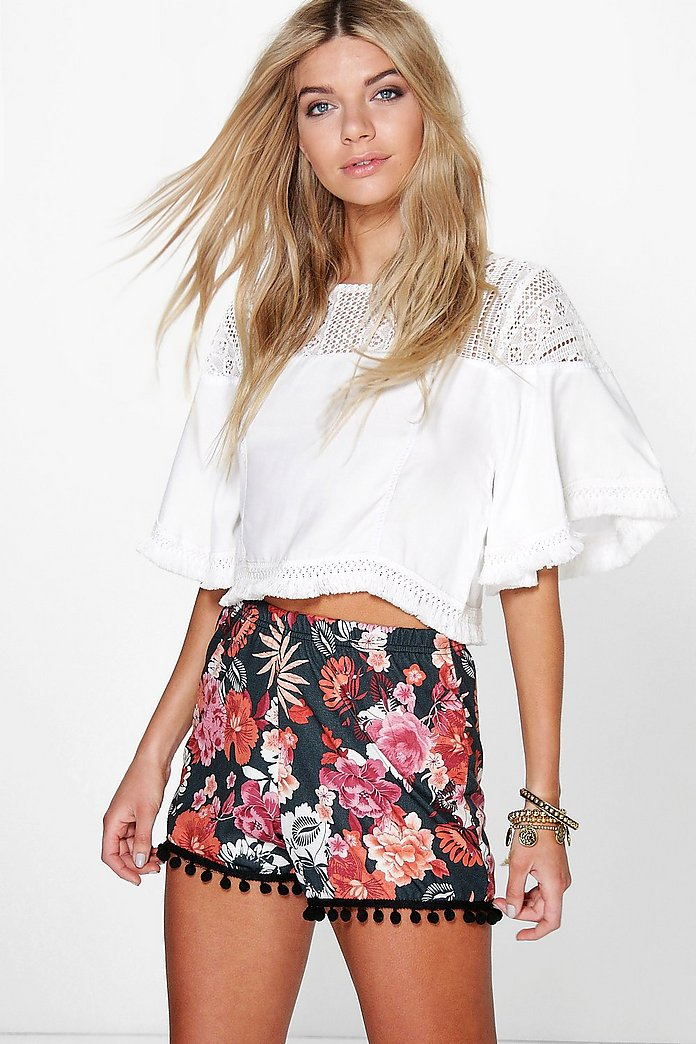 Eve Floral Print Pom Pom Trim Flippy Short