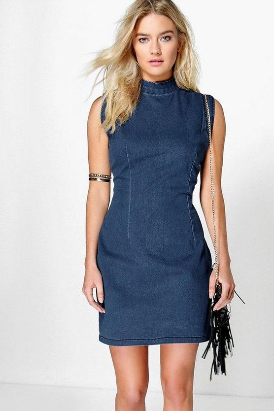 Hannah High Neck Sleeveless Denim Dress