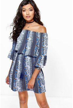 Lauren Printed Frill Sleeve Dress