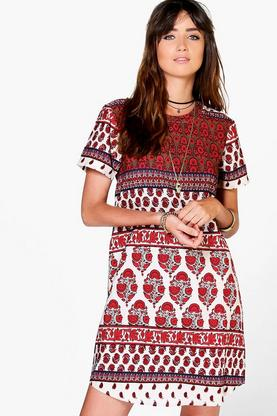 Mona Paisley Cap Sleeve Shift Dress