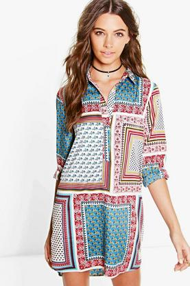Sibil Scarf Print Shirt Dress