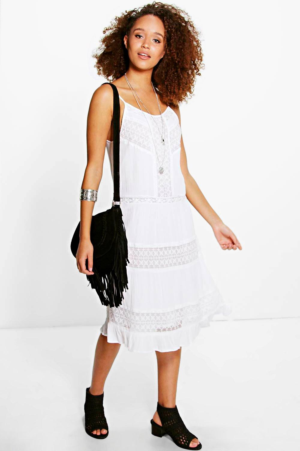 Camella Lace Insert Midi Dress