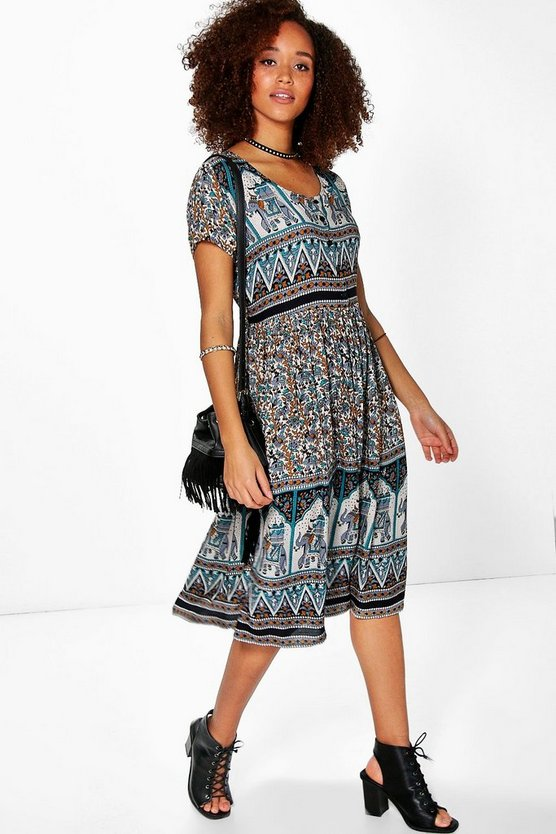 Elisa Border Elephant Midi Dress