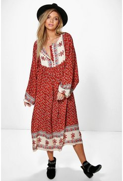 Lorene Border Print Midi Smock Dress
