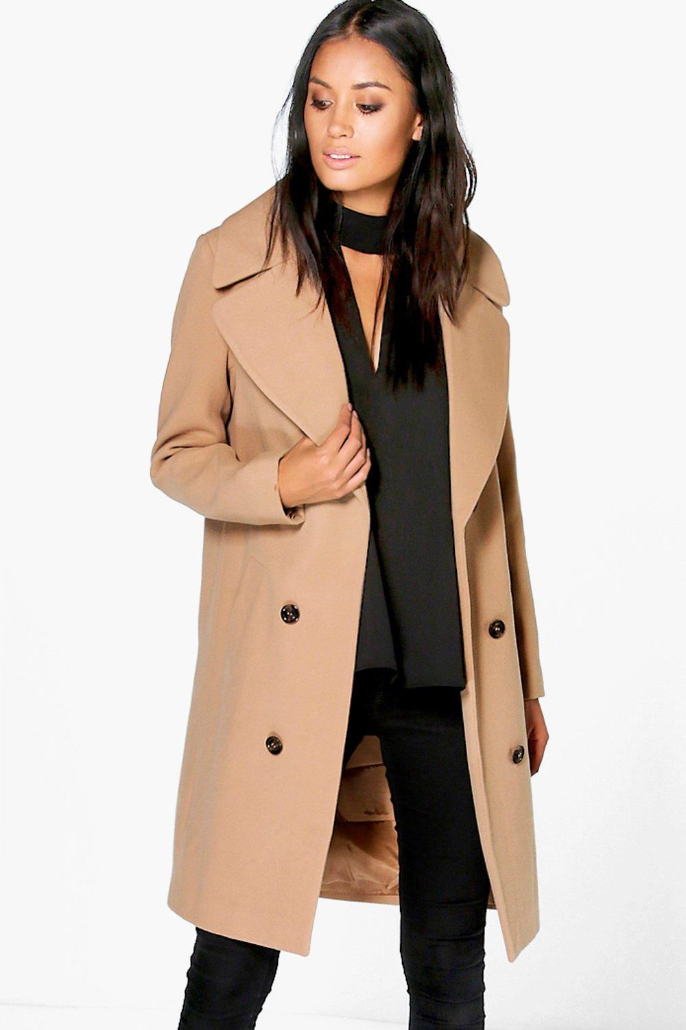 Oversized Collar Double Breasted Coat - camel