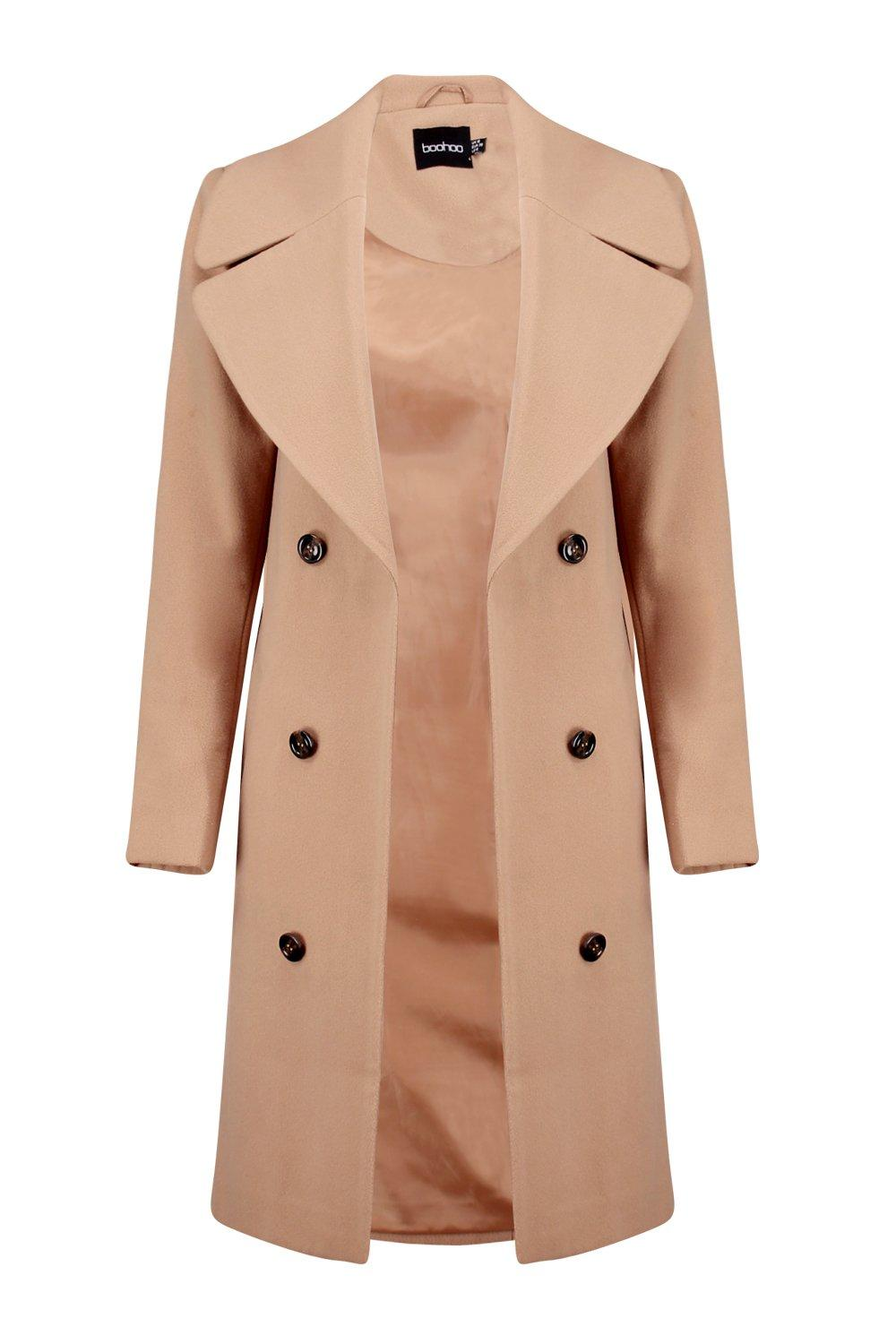 NEW-Boohoo-Womens-Maya-Oversized-Collar-Double-Breasted-Coat-in-Polyester