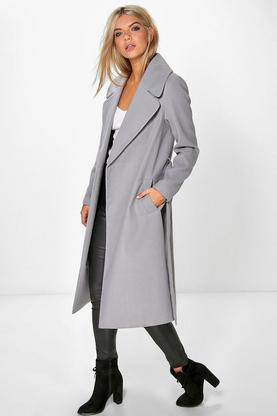 Katie Oversized Collar Belted Robe Coat