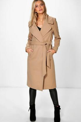 Amelie Oversized Collar Longline Belted Robe Coat