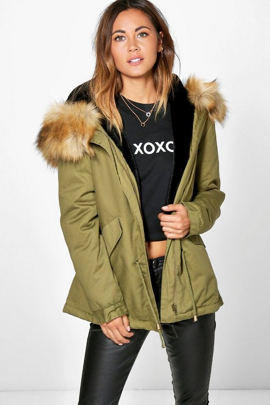 Boutique Erin Faux Fur Lined Hooded Parka